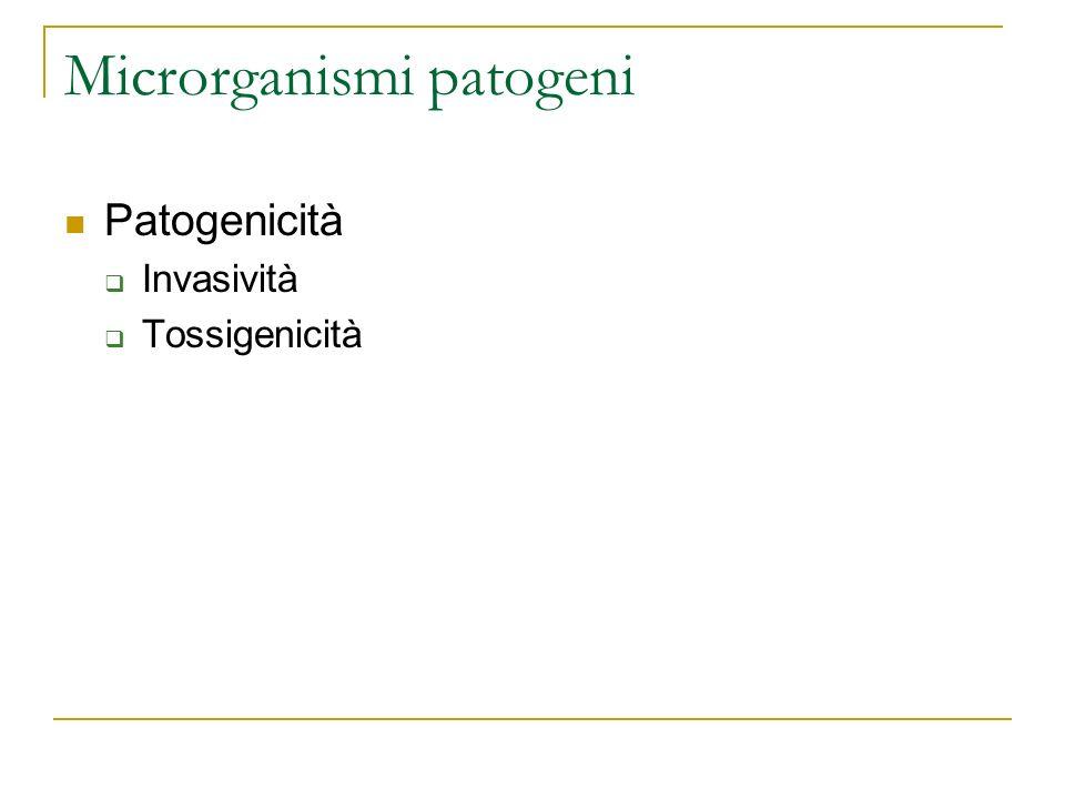 Microrganismi patogeni Patogenicità Invasività Tossigenicità