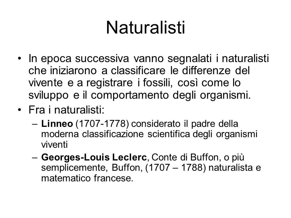 Naturalisti In epoca successiva vanno segnalati i naturalisti che iniziarono a classificare le differenze del vivente e a registrare i fossili, così c