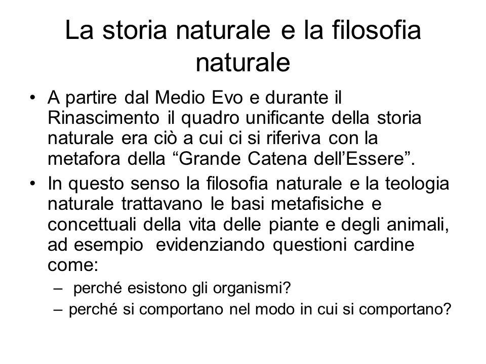 La storia naturale e la filosofia naturale A partire dal Medio Evo e durante il Rinascimento il quadro unificante della storia naturale era ciò a cui