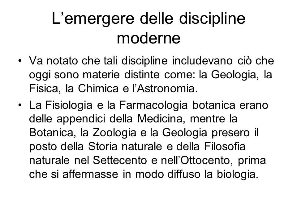 Lemergere delle discipline moderne Va notato che tali discipline includevano ciò che oggi sono materie distinte come: la Geologia, la Fisica, la Chimi