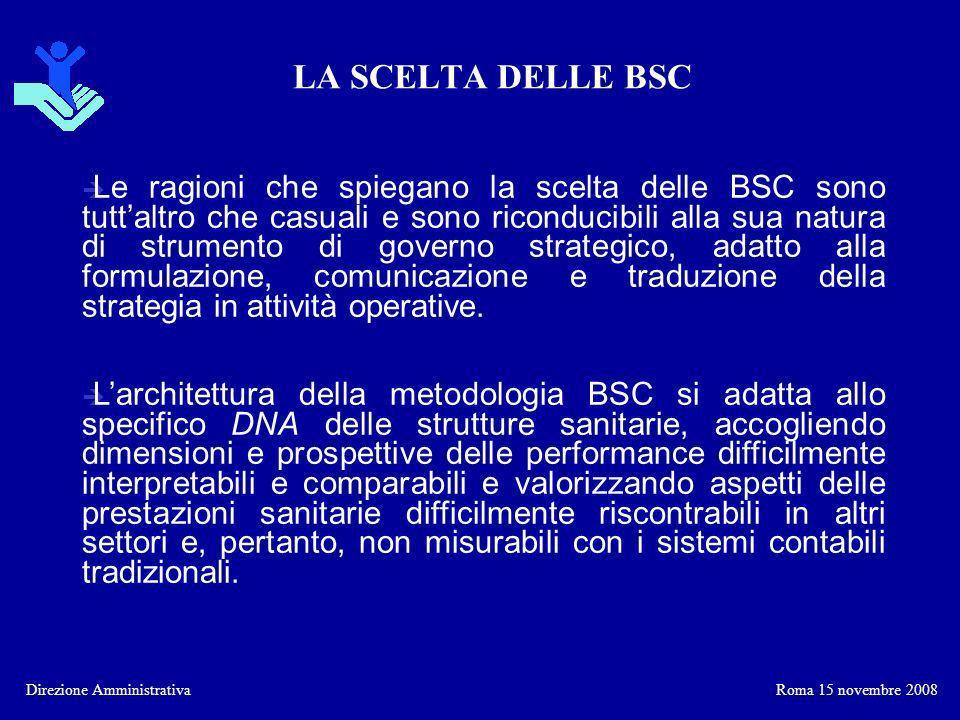LA SCELTA DELLE BSC Direzione Amministrativa è La metodologia delle Balanced Scorecard è uno strumento ideale sul quale basare la propria strategia e realizzarla concretamente.