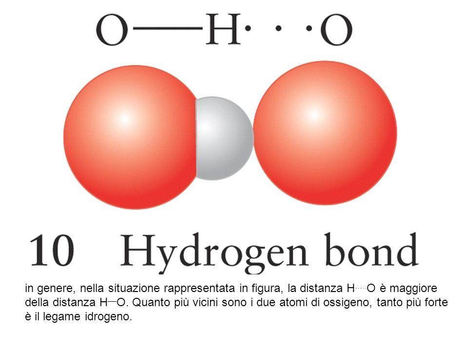 in genere, nella situazione rappresentata in figura, la distanza H ….. O è maggiore della distanza H __ O. Quanto più vicini sono i due atomi di ossig