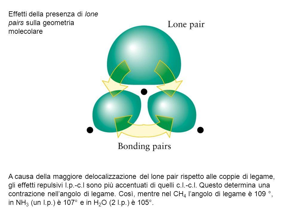 A causa della maggiore delocalizzazione del lone pair rispetto alle coppie di legame, gli effetti repulsivi l.p.-c.l sono più accentuati di quelli c.l.-c.l.