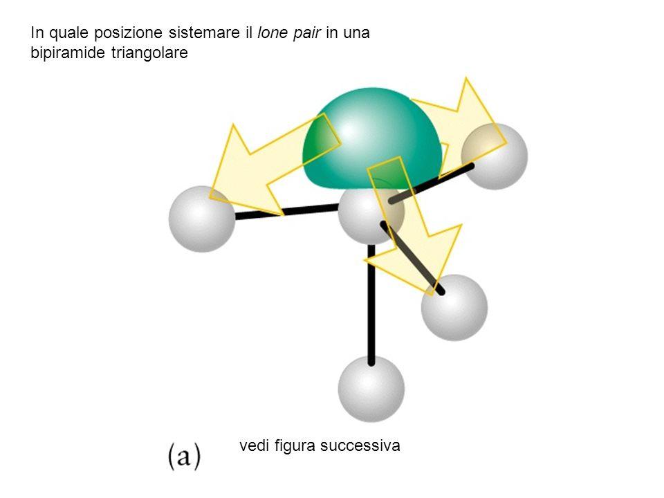 vedi figura successiva In quale posizione sistemare il lone pair in una bipiramide triangolare