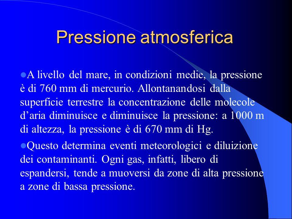Pressione atmosferica A livello del mare, in condizioni medie, la pressione è di 760 mm di mercurio. Allontanandosi dalla superficie terrestre la conc