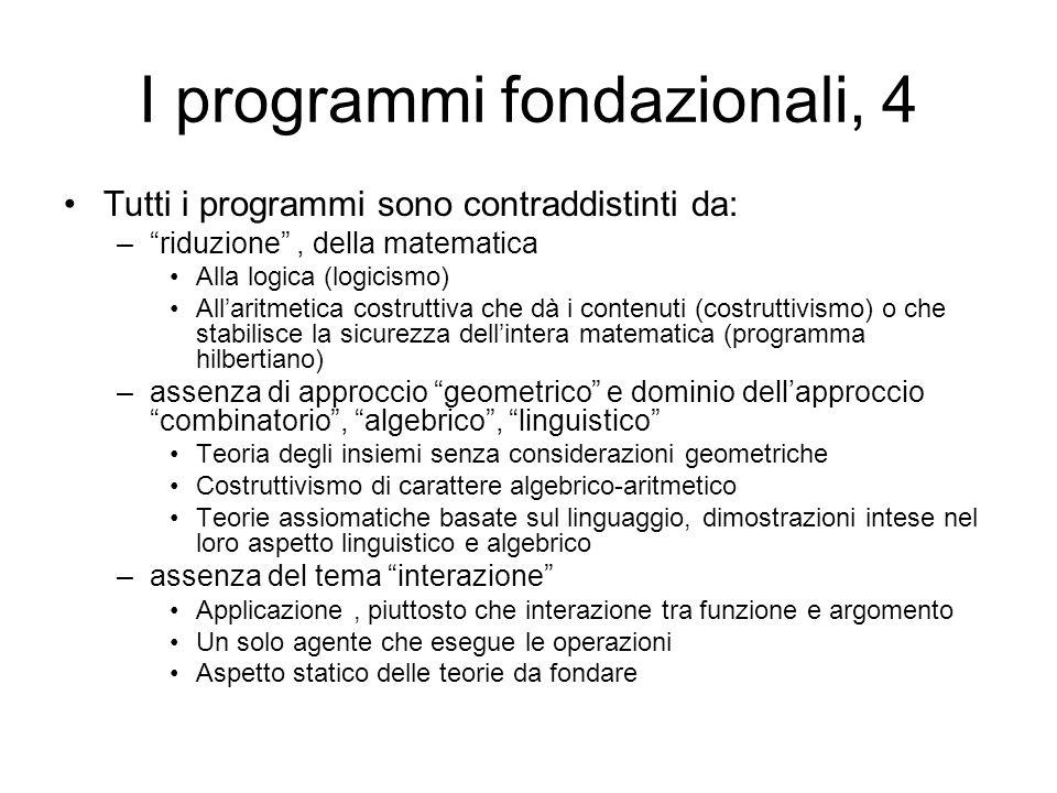 I programmi fondazionali, 4 Tutti i programmi sono contraddistinti da: –riduzione, della matematica Alla logica (logicismo) Allaritmetica costruttiva