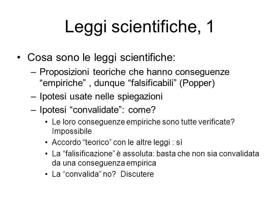 Leggi scientifiche, 1 Cosa sono le leggi scientifiche: –Proposizioni teoriche che hanno conseguenze empiriche, dunque falsificabili (Popper) –Ipotesi