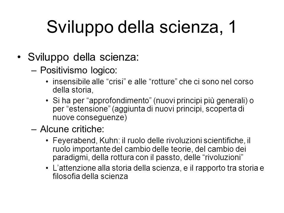 Sviluppo della scienza, 1 Sviluppo della scienza: –Positivismo logico: insensibile alle crisi e alle rotture che ci sono nel corso della storia, Si ha