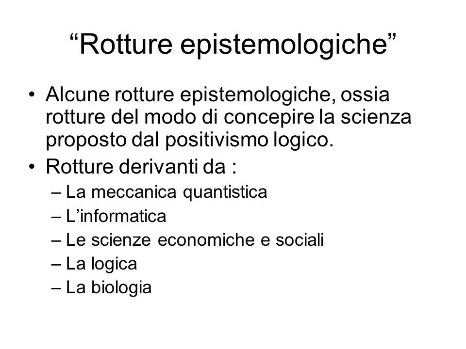 Rotture epistemologiche Alcune rotture epistemologiche, ossia rotture del modo di concepire la scienza proposto dal positivismo logico. Rotture deriva
