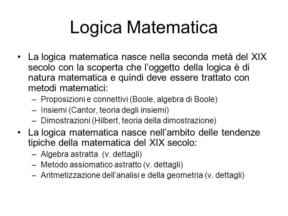 Logica Matematica La logica matematica nasce nella seconda metà del XIX secolo con la scoperta che loggetto della logica è di natura matematica e quin