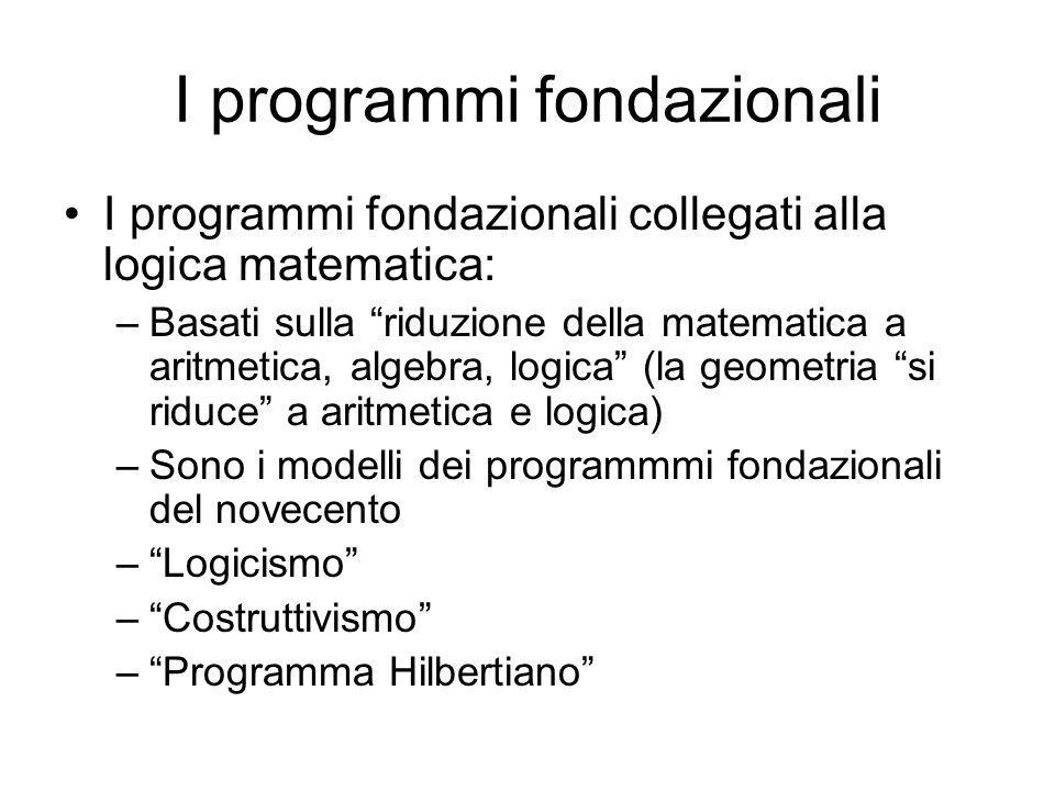 I programmi fondazionali I programmi fondazionali collegati alla logica matematica: –Basati sulla riduzione della matematica a aritmetica, algebra, lo