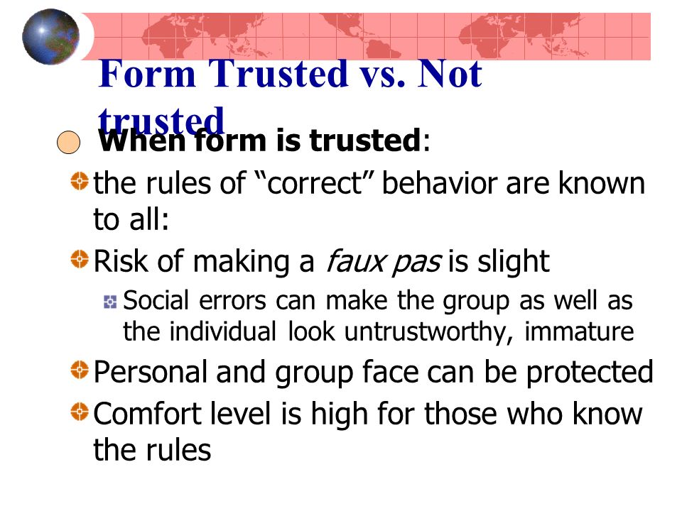 Form Trusted vs.