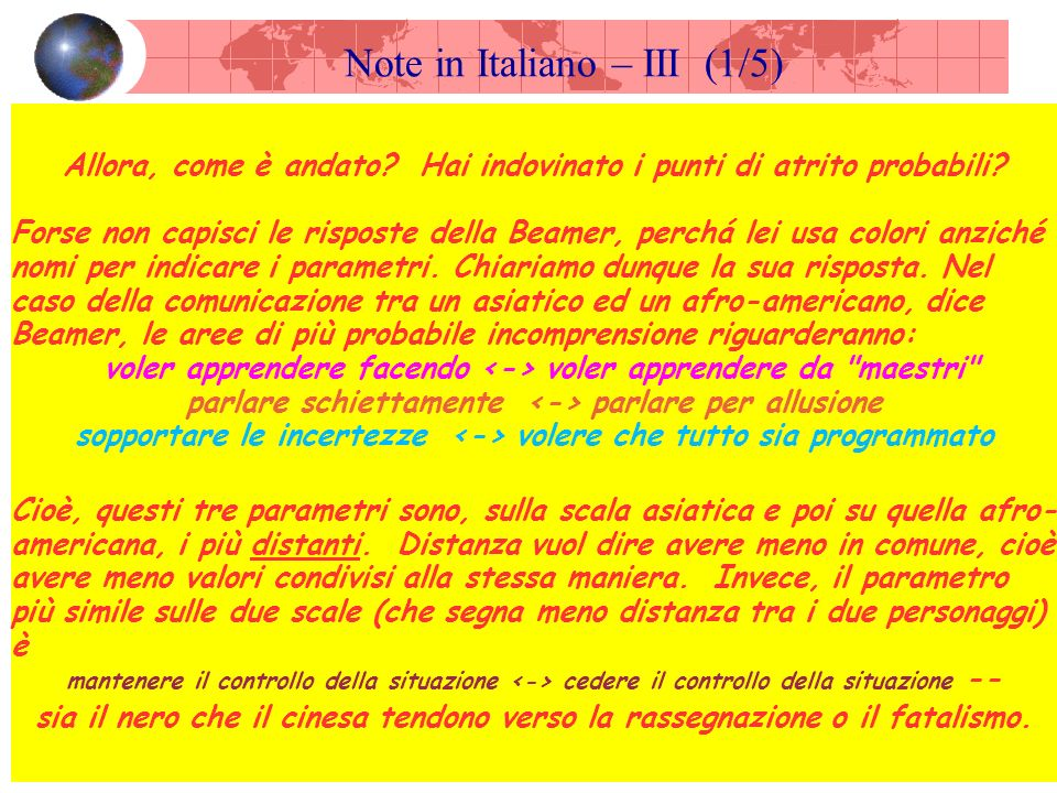 Note in Italiano – III (1/5) Allora, come è andato.