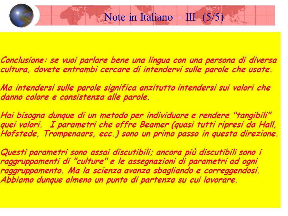 Note in Italiano – III (5/5) Conclusione: se vuoi parlare bene una lingua con una persona di diversa cultura, dovete entrambi cercare di intendervi sulle parole che usate.