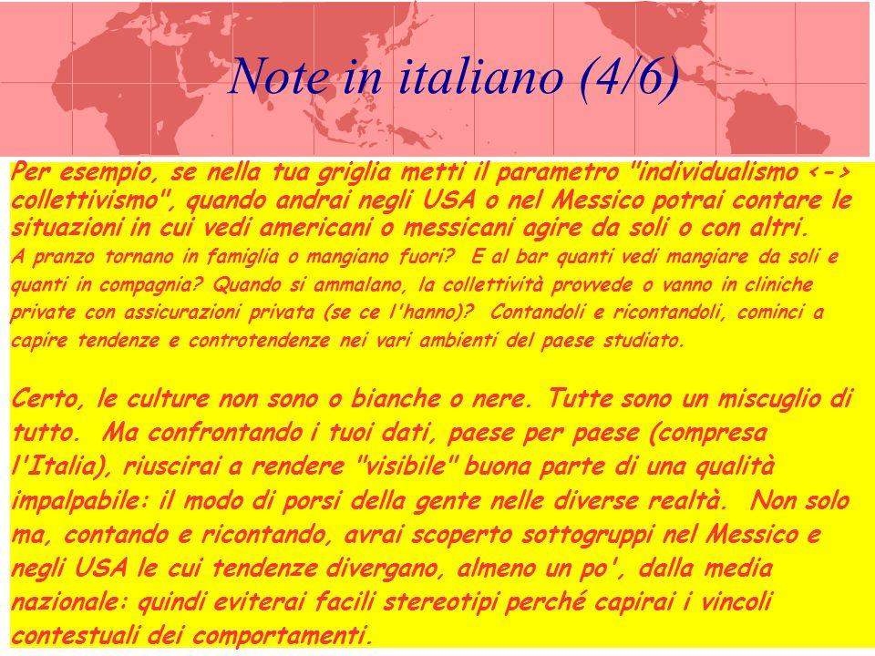Note in italiano (5/6) Nei lucidi che seguono, dunque, Beamer illustra gli 8 parametri (espressi come coppie di valori opposti) che lei ha scelto in quanto più indicativi delle differenze tra le varie culture.