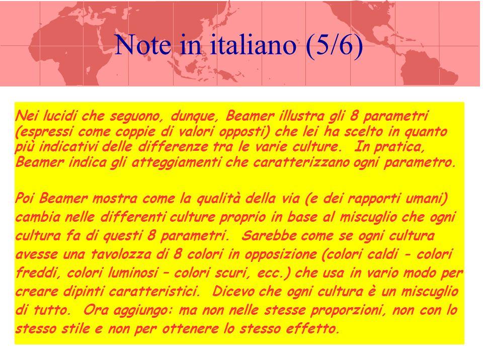 Note in italiano (6/6) Gli 8 parametri che prende in esame Beamer sono: (1.) fare da sé fare insieme ad altri (individualismo collettivismo), (2.) rispettare le forme considerare ingannevoli le forme, (3.) distribuire orizzontalmente il potere ordinare verticalmente il potere (gerarchia), (4.) mantenere il controllo della situazione lasciare il controllo della situazione ad altri, (5.) voler apprendere facendo voler apprendere da un maestro , (6.) osservare le regole adattare le regole alle proprie esigenze, (7.) parlare schiettamente parlare per allusione, (8.) sopportare le incertezza volere che tutto sia programmato.