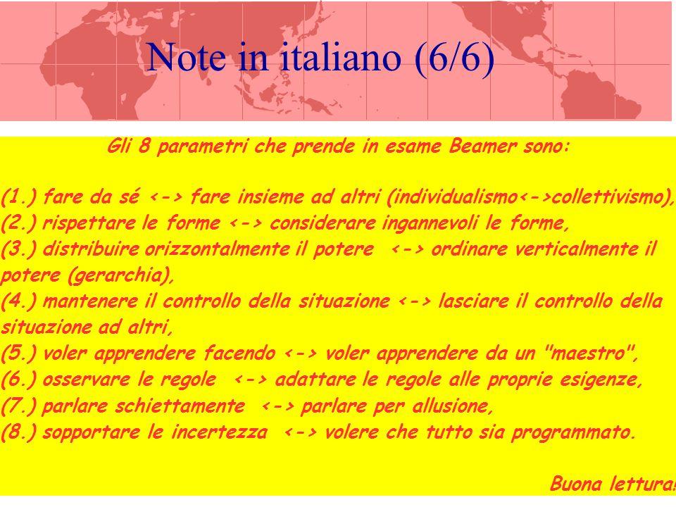 Note in Italiano – IV Quest ultimo lucido, come hai visto, paragona la distribuzione dei parametri culturali latini e quelli euro-americano – sempre secondo Beamer.