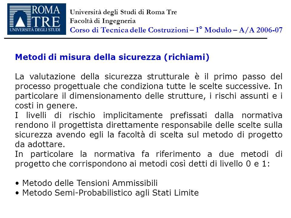 Metodi di misura della sicurezza (richiami) Metodo Semi-Probabilistico agli Stati limite Valutazione della Resistenza di progetto di strutture in c.a.