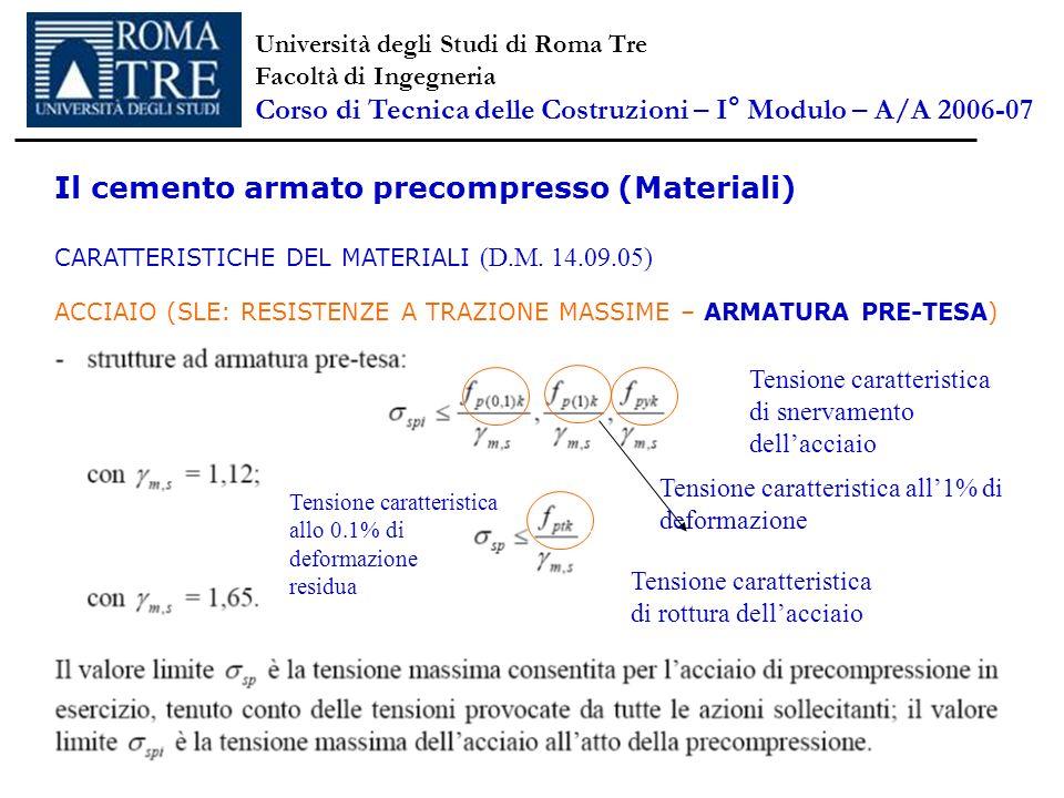 Università degli Studi di Roma Tre Facoltà di Ingegneria Corso di Tecnica delle Costruzioni – I ° Modulo – A/A 2006-07 Il cemento armato precompresso (Materiali) CARATTERISTICHE DEL MATERIALI (D.M.