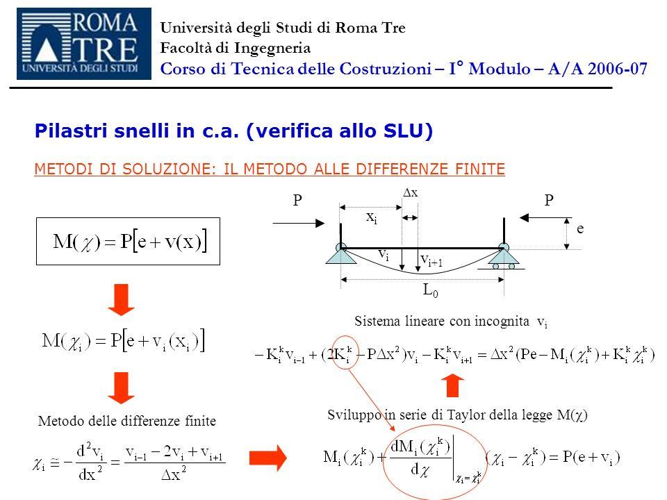 Pilastri snelli in c.a. (verifica allo SLU) METODI DI SOLUZIONE: IL METODO ALLE DIFFERENZE FINITE P L0L0 vivi P e xixi v i+1 x Metodo delle differenze
