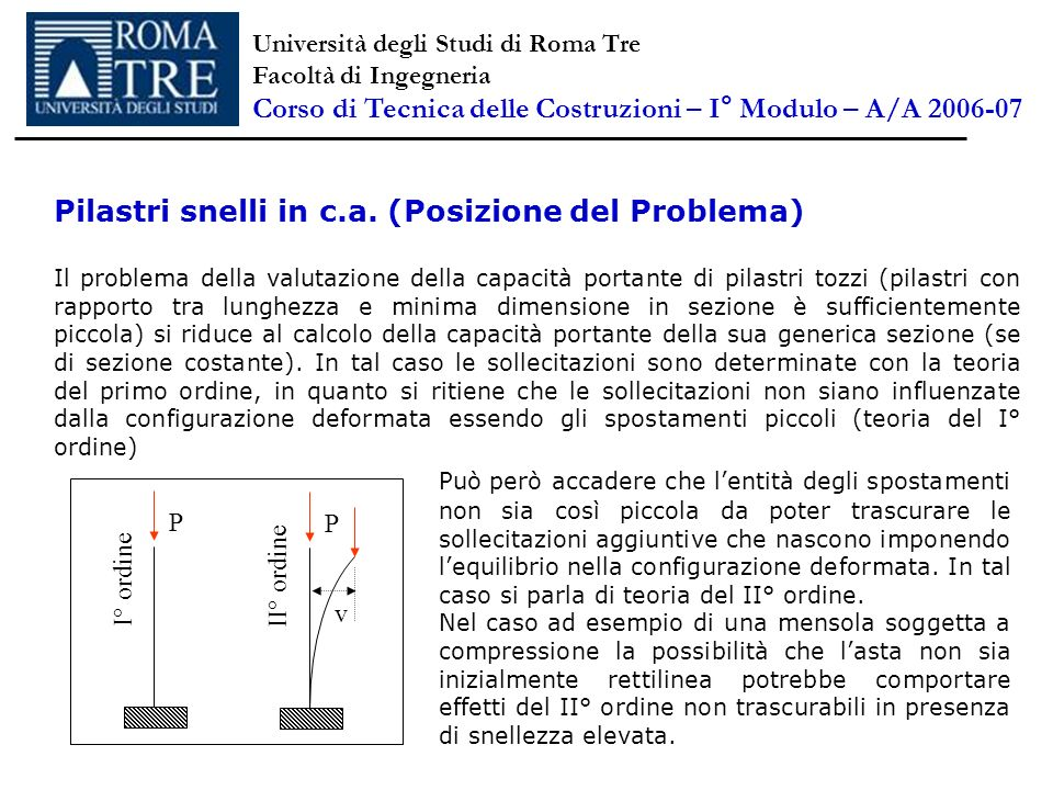 Pilastri snelli in c.a. (Posizione del Problema) Il problema della valutazione della capacità portante di pilastri tozzi (pilastri con rapporto tra lu
