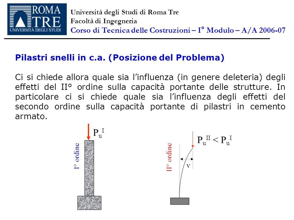 Pilastri snelli in c.a. (Posizione del Problema) Ci si chiede allora quale sia linfluenza (in genere deleteria) degli effetti del II° ordine sulla cap