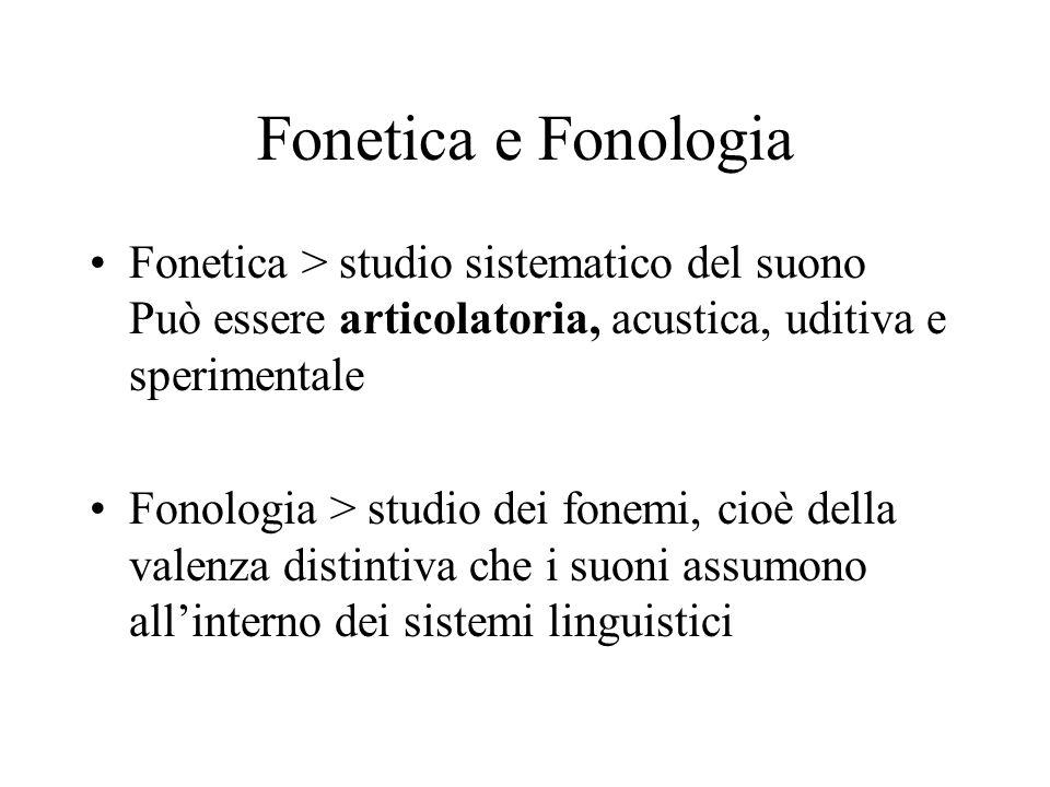 Fonetica e Fonologia Fonetica > studio sistematico del suono Può essere articolatoria, acustica, uditiva e sperimentale Fonologia > studio dei fonemi,