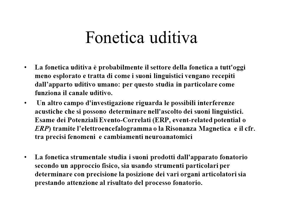 Fonetica uditiva La fonetica uditiva è probabilmente il settore della fonetica a tutt'oggi meno esplorato e tratta di come i suoni linguistici vengano
