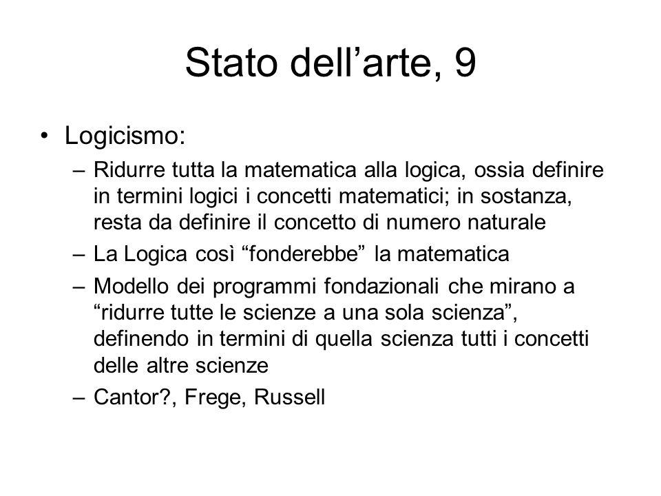 Stato dellarte, 9 Logicismo: –Ridurre tutta la matematica alla logica, ossia definire in termini logici i concetti matematici; in sostanza, resta da d