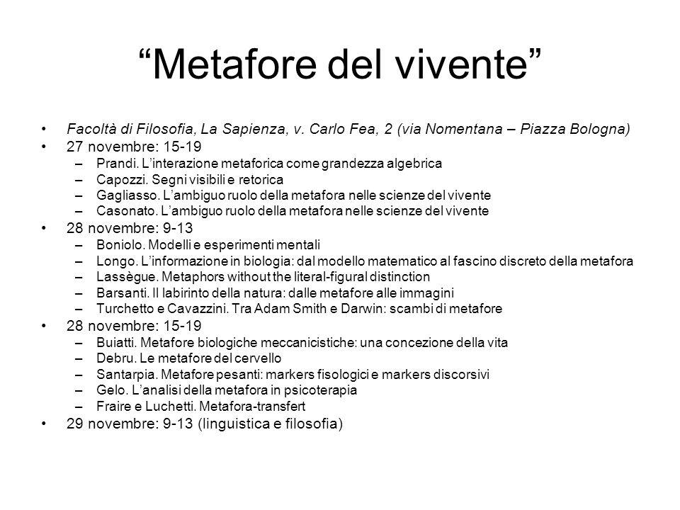 Metafore del vivente Facoltà di Filosofia, La Sapienza, v. Carlo Fea, 2 (via Nomentana – Piazza Bologna) 27 novembre: 15-19 –Prandi. Linterazione meta