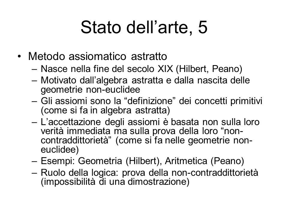 Stato dellarte, 6 Aritmetizzazione della analisi e della geometria –Definizione aritmetica dei numeri reali (insiemi infiniti di numeri razionali) (Dedekind, Cantor, Weierstrass) –I numeri reali sono un modello degli assiomi della geometria euclidea (la non-contraddittorietà degli assiomi della geometria euclidea è ricondotta a quella della teoria dei numeri reali, Hilbert) –I numeri razionali e I numeri interi si definiscono a partire dai numeri naturali –Aritmetica (dei numeri naturali), e logica (degli insiemi infiniti) ossia teoria degli insiemi di Cantor