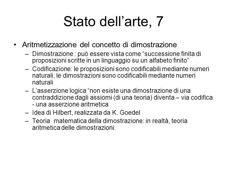 Stato dellarte, 7 Aritmetizzazione del concetto di dimostrazione –Dimostrazione : può essere vista come successione finita di proposizioni scritte in