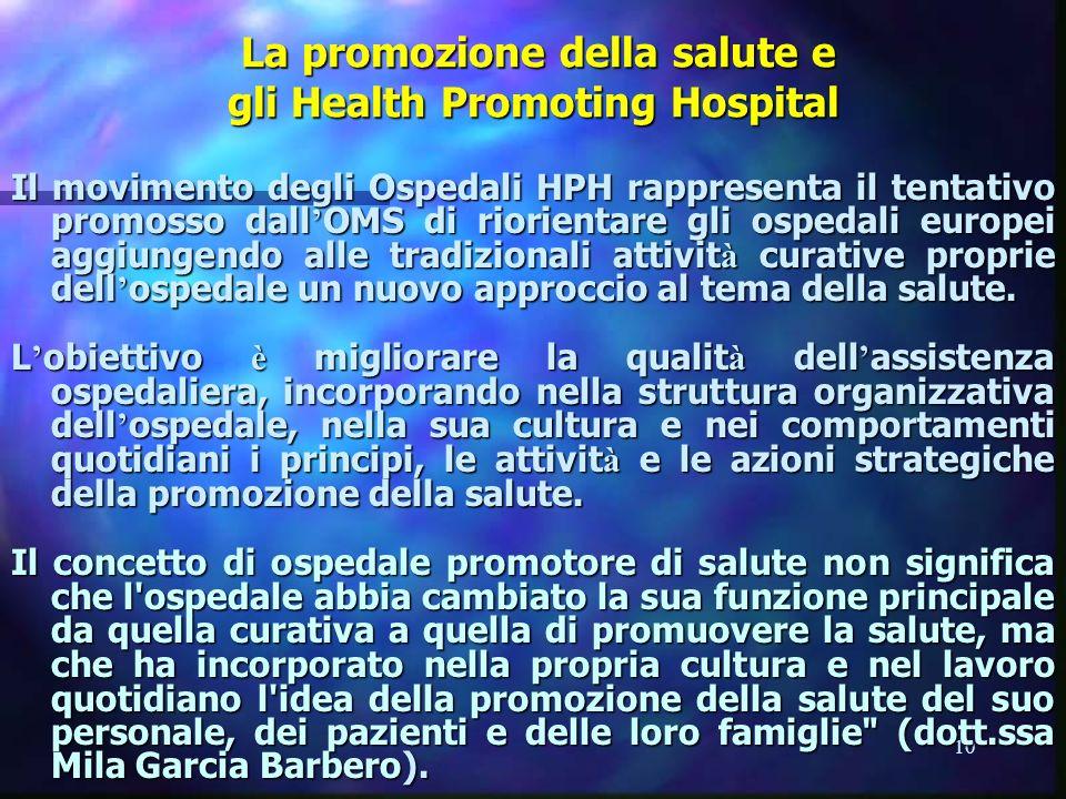 10 La promozione della salute e gli Health Promoting Hospital La promozione della salute e gli Health Promoting Hospital Il movimento degli Ospedali H