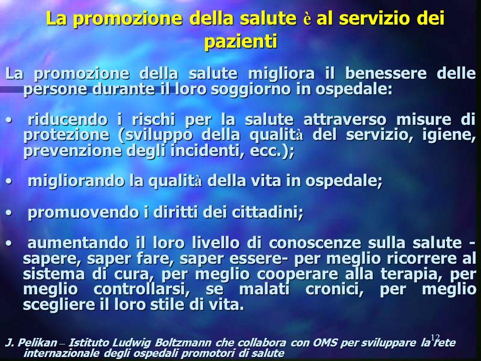 12 La promozione della salute è al servizio dei pazienti La promozione della salute è al servizio dei pazienti La promozione della salute migliora il