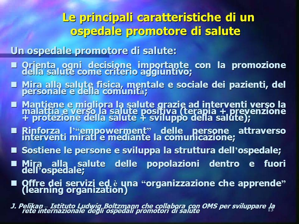 13 Le principali caratteristiche di un ospedale promotore di salute Le principali caratteristiche di un ospedale promotore di salute Un ospedale promo