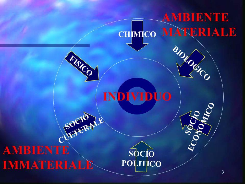 3 INDIVIDUO CHIMICO FISICO BIOLOGICO SOCIO CULTURALE SOCIO POLITICO SOCIO ECONOMICO AMBIENTE MATERIALE AMBIENTE IMMATERIALE