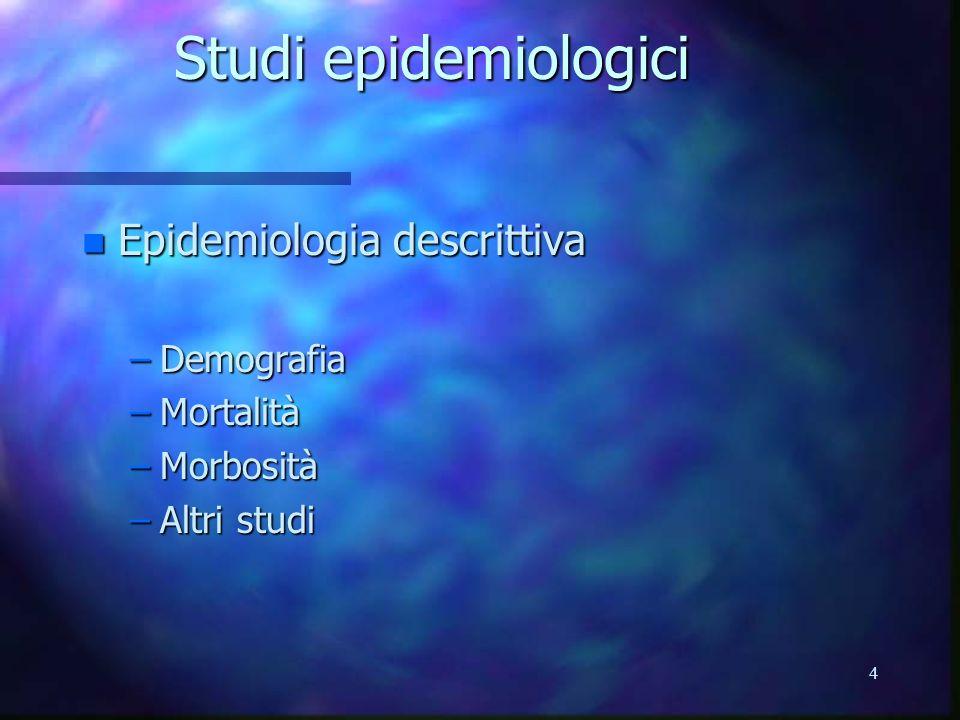 4 Studi epidemiologici n Epidemiologia descrittiva –Demografia –Mortalità –Morbosità –Altri studi