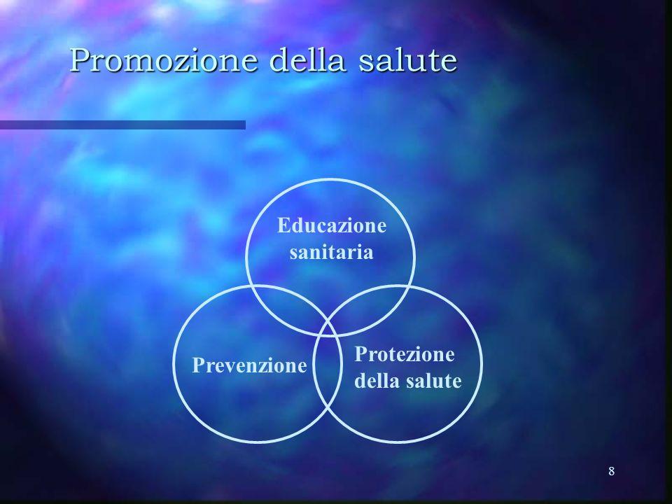 8 Promozione della salute Educazione sanitaria Prevenzione Protezione della salute