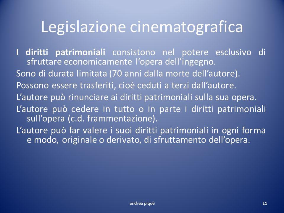 Legislazione cinematografica I diritti patrimoniali consistono nel potere esclusivo di sfruttare economicamente lopera dellingegno. Sono di durata lim