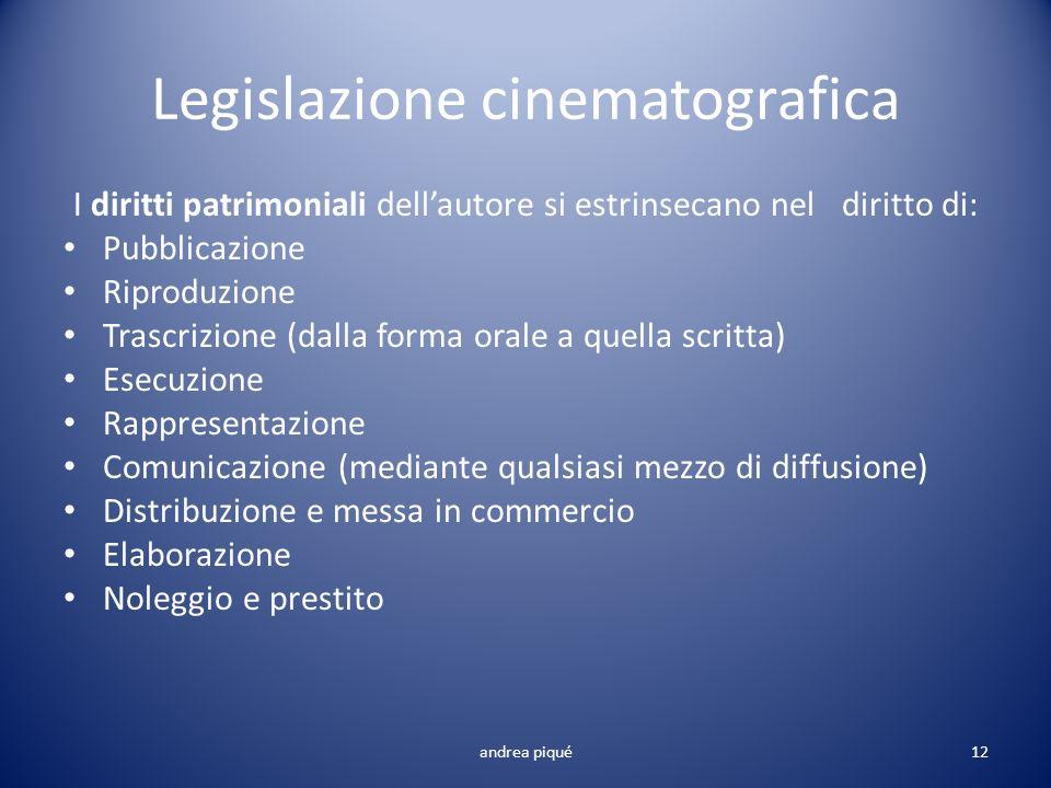 Legislazione cinematografica I diritti patrimoniali dellautore si estrinsecano nel diritto di: Pubblicazione Riproduzione Trascrizione (dalla forma or