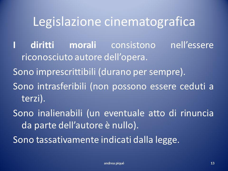 Legislazione cinematografica I diritti morali consistono nellessere riconosciuto autore dellopera. Sono imprescrittibili (durano per sempre). Sono int