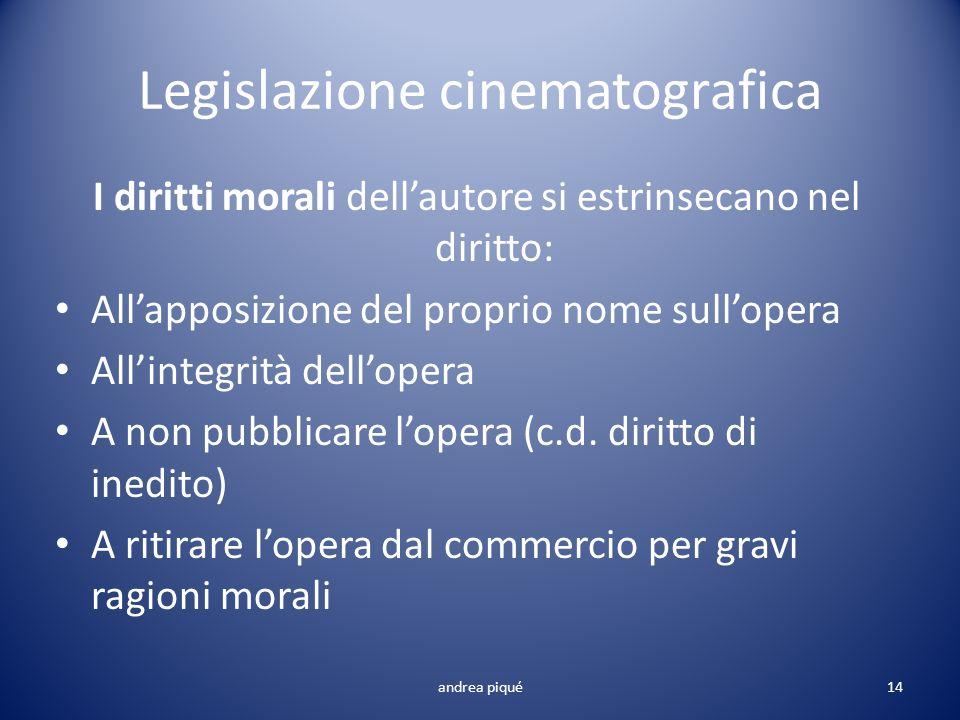 Legislazione cinematografica I diritti morali dellautore si estrinsecano nel diritto: Allapposizione del proprio nome sullopera Allintegrità dellopera