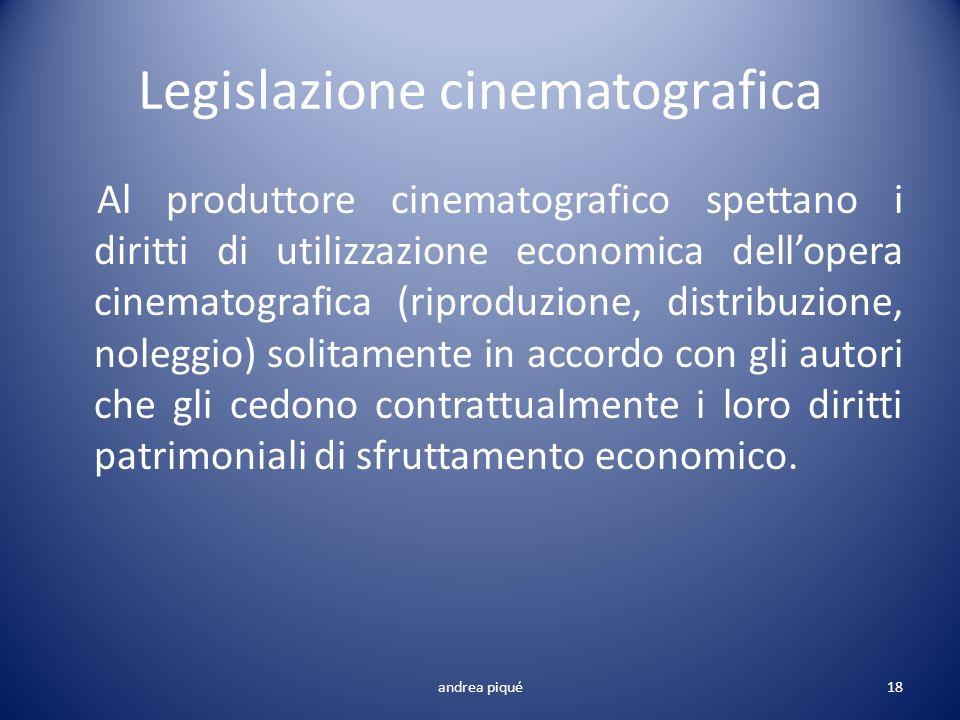 Legislazione cinematografica Al produttore cinematografico spettano i diritti di utilizzazione economica dellopera cinematografica (riproduzione, dist