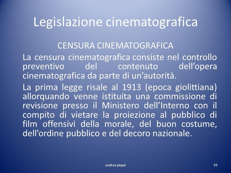 Legislazione cinematografica CENSURA CINEMATOGRAFICA La censura cinematografica consiste nel controllo preventivo del contenuto dellopera cinematograf
