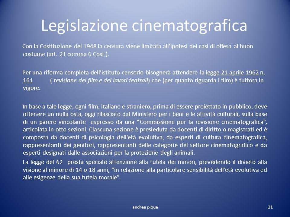 Legislazione cinematografica Con la Costituzione del 1948 la censura viene limitata allipotesi dei casi di offesa al buon costume (art. 21 comma 6 Cos