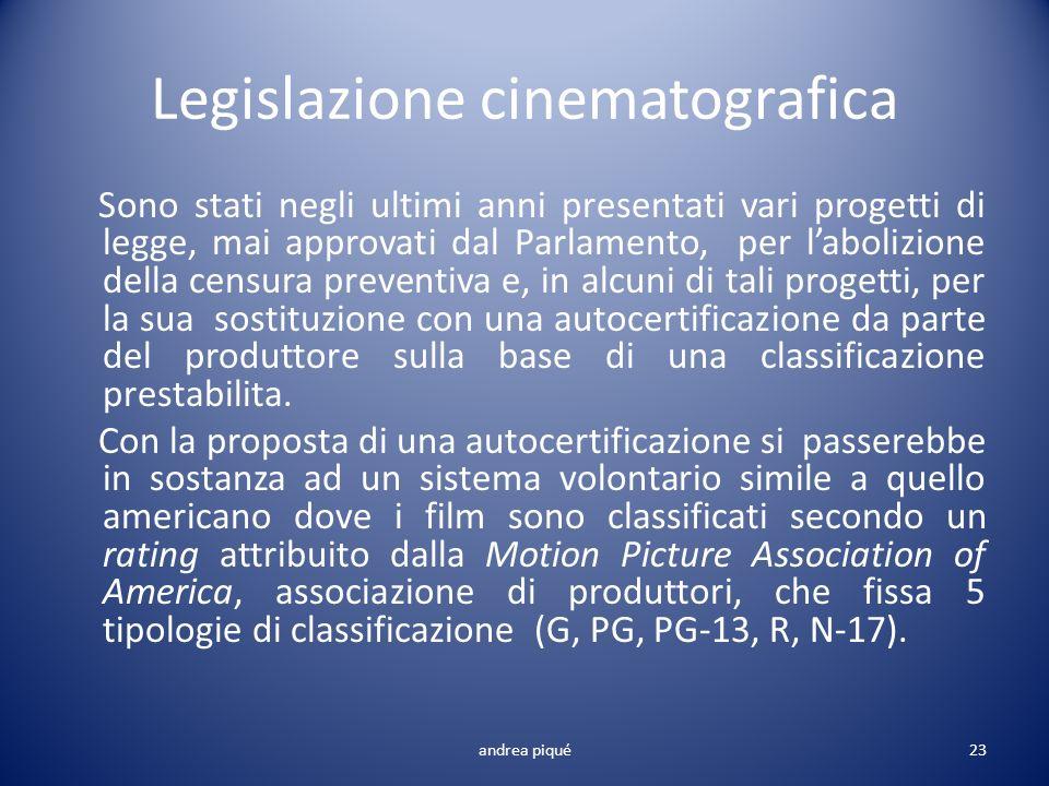 Legislazione cinematografica Sono stati negli ultimi anni presentati vari progetti di legge, mai approvati dal Parlamento, per labolizione della censu