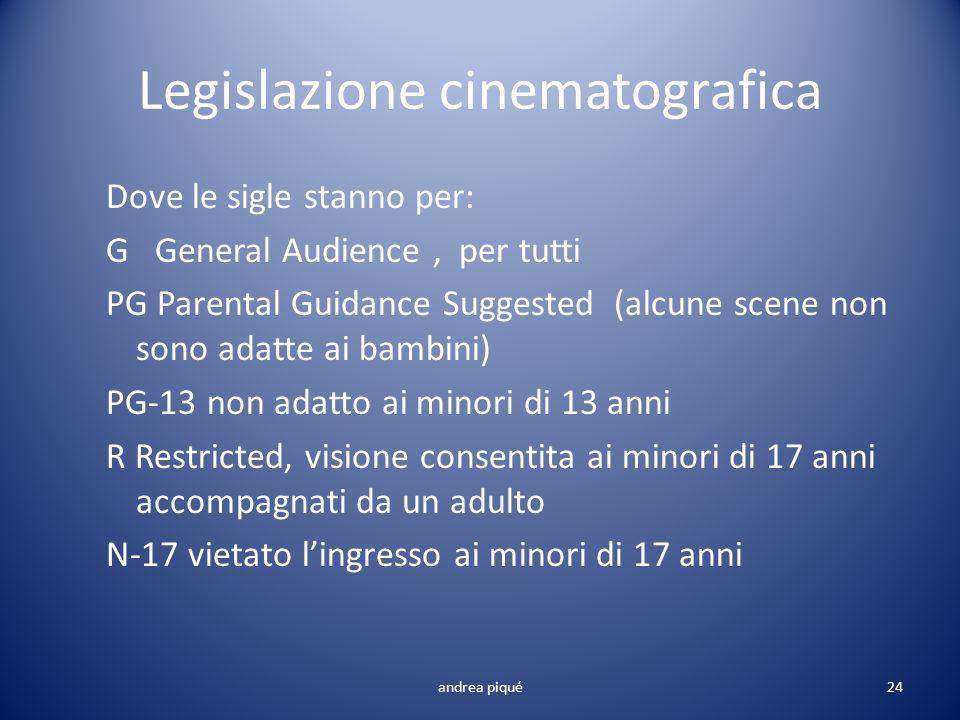 Legislazione cinematografica Dove le sigle stanno per: G General Audience, per tutti PG Parental Guidance Suggested (alcune scene non sono adatte ai b