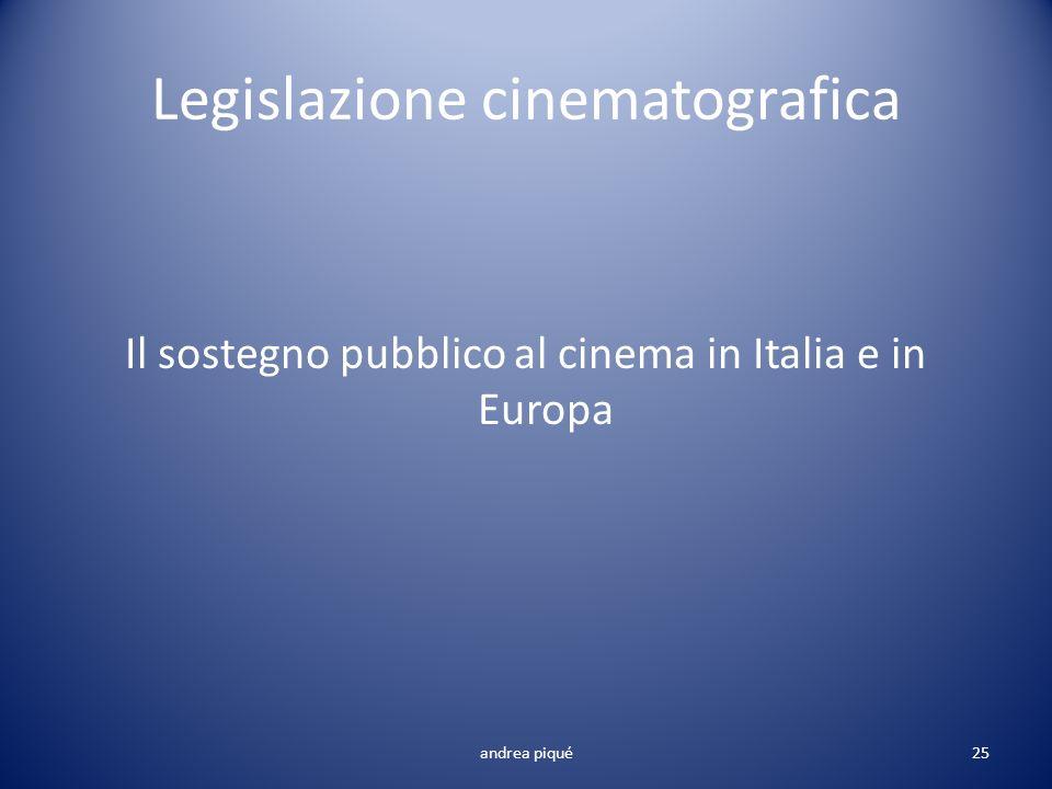 Legislazione cinematografica Il sostegno pubblico al cinema in Italia e in Europa andrea piqué25