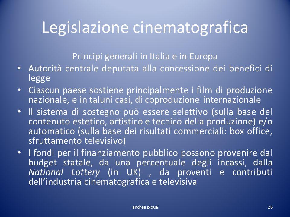 Legislazione cinematografica Principi generali in Italia e in Europa Autorità centrale deputata alla concessione dei benefici di legge Ciascun paese s