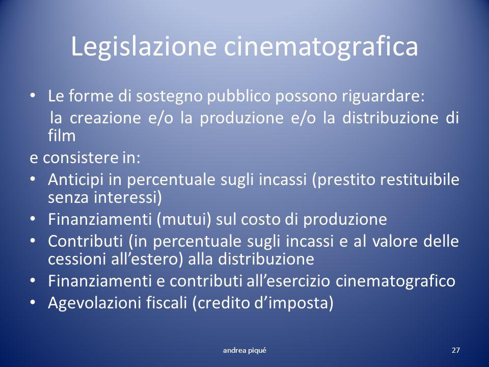 Legislazione cinematografica Le forme di sostegno pubblico possono riguardare: la creazione e/o la produzione e/o la distribuzione di film e consister